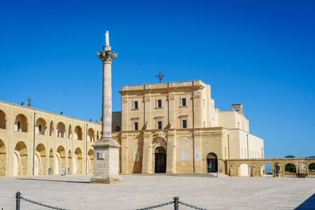 Sanctuary in Leuca and blue sky in Puglia, southern Italy