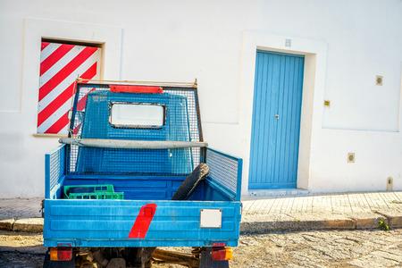 Small italian motorbike parked in Gallipoli, Puglia, Italy