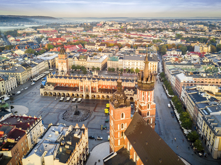 Beautiful aerial view of historic market square at sunrise, Krakow, Poland