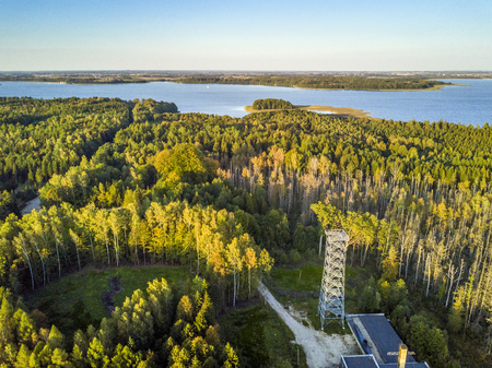 Metal observation deck and landscape in Mamerki, Mazury district lake, Poland Stock Photo