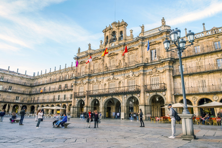 City town of Salamanca with many people around, Castile and Leon, Spain Stock Photo