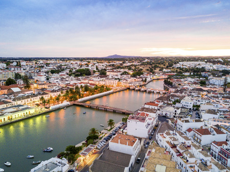 Moorish historic town of Tavira by Gilao river, Algarve, Portugal