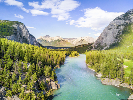 Aerial view of Bow river among canadian Rockies Mountains, Banff National Park, Alberta, Canada