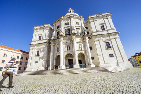 The Church of Santa Engracia converted into the National Pantheon with people comming inside, Lisbon, Portugal Stock Photo