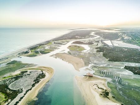 Aerial view of unique Ria Formosa at sunset in Fuseta, Algarve, Portugal Stock Photo