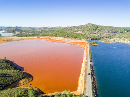 Aerial view of blue and orangel lakes in Minas de Riotinto, Andalusia, Spain
