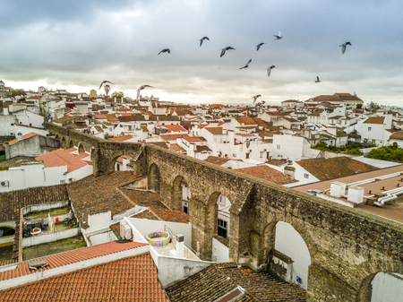Aerial view of historic Evora with Roman aqueduct and birds, Alentejo, Portugal Archivio Fotografico - 100559226