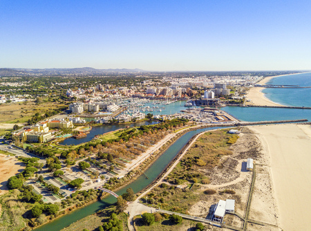 Aerial view of  Vilamoura with charming marina and wide sandy beach, Algarve, Portugal Banco de Imagens