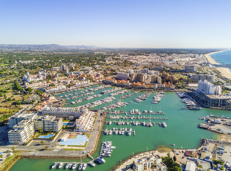 Aerial view of  Vilamoura with charming marina and resorts, Algarve, Portugal Banco de Imagens