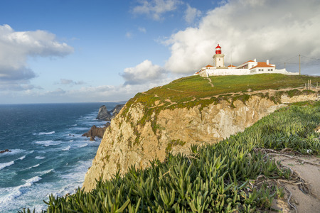 Lighthouse on the cliffs on Cape Roca - Cabo da Roca, Sintra - Cascais Natural Park, Portugal