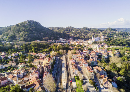 Aerial view of Sintra with Castle of the Moors and Pena Palace on the hills, Portugal 報道画像