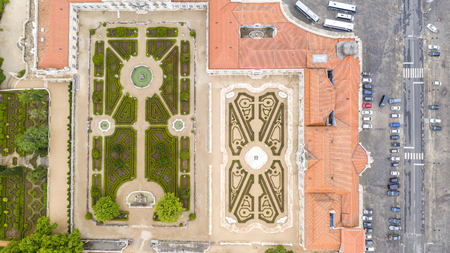 Aerial view of garden in Queluz National Palace, Lisbon, Portugal Editorial