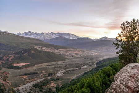Atlas mountains and Imlil valley at sunset, Marrakech, Morocco