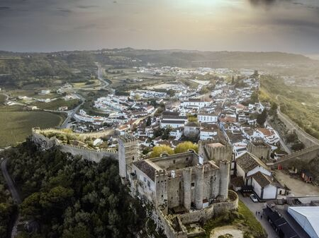 Aerial shoot of Obidos with historic walls and castle, Leiria district, Portugal