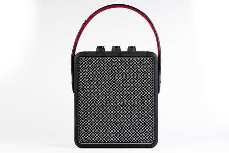 Black modern bluetooth loudspeaker isolated on white background