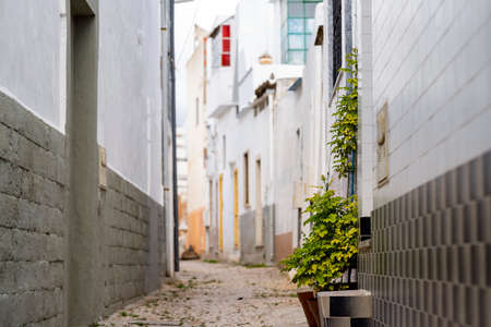 Narrow street with white houses and flowers in Olhao, Algarve, Portugal Stock Photo