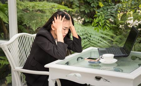 Business asian women Stress job in work hard