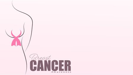 Breast cancer awareness Pink ribbon background. October is Cancer Awareness Month. Vector healthcare Illustration.