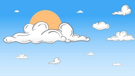 Landscape blue sky and white clouds on sunny day. Illusztráció