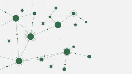 Punti e linee di connessione geometriche astratte. Sfondo grafico di tecnologia semplice. Illustrazione vettoriale Concetto di rete e connessione. Vettoriali