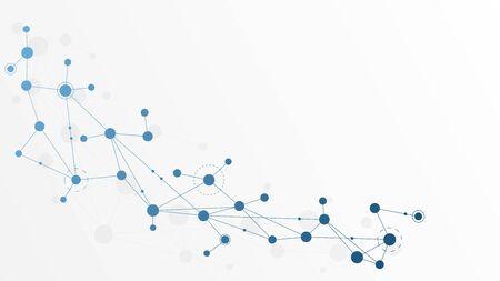Punti e linee di connessione geometriche astratte. Sfondo grafico di tecnologia semplice. Illustrazione vettoriale Concetto di rete e connessione.