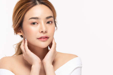 Beauty asian women touching soft chinskin close up face beauty . Reklamní fotografie