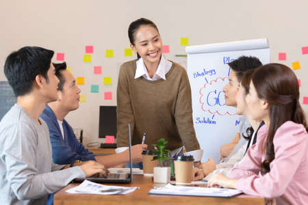 Asian business man and women meeting and talk about job in office. Stok Fotoğraf