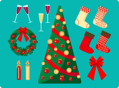set of Christmas images on blue background