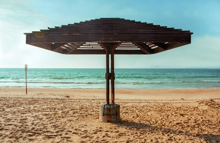 a wooden canopy for protection from the sun
