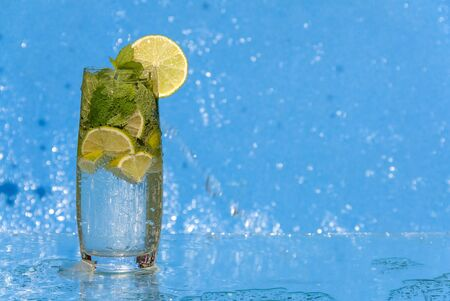 cool Mojito on a blue shimmering background