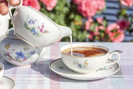 Tea in the English style on the background of roses