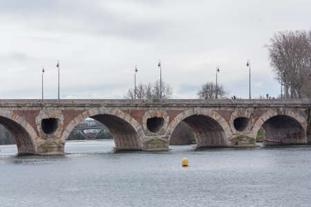 New bridge over the Garonne river in Toulouse on a cloudy day