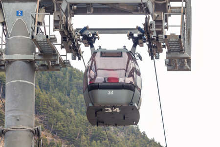 Elevator ski cabin against the sky