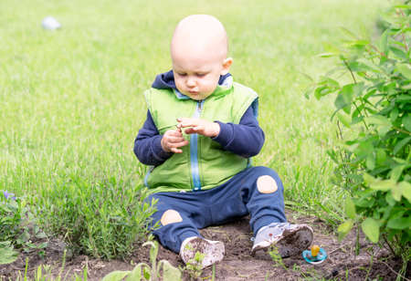 The child plays with the earth and grass learning the world Zdjęcie Seryjne
