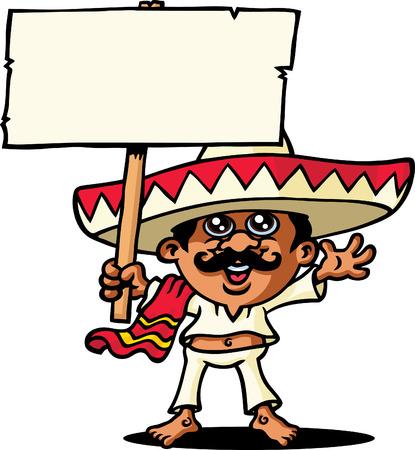 caricatura mexicana: Mexicano con signo