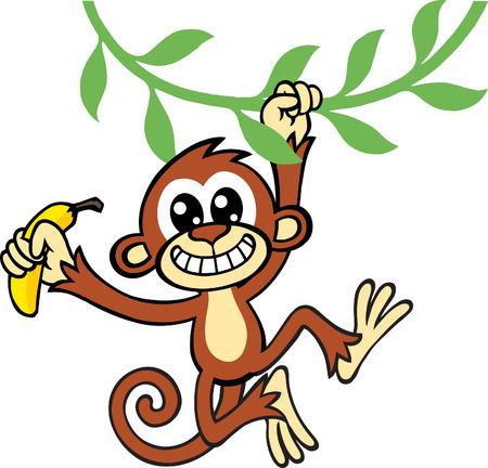 Monkey Banana Stock Vector - 8885229