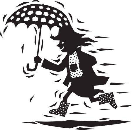 Umbrella Woman Vector