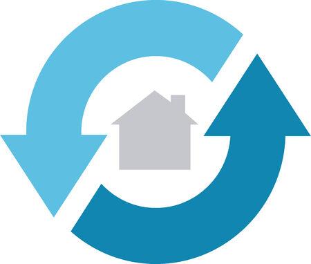blue circles: 360 home service Illustration