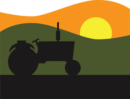 Tractor Sunset Icon Stock Vector - 8885239