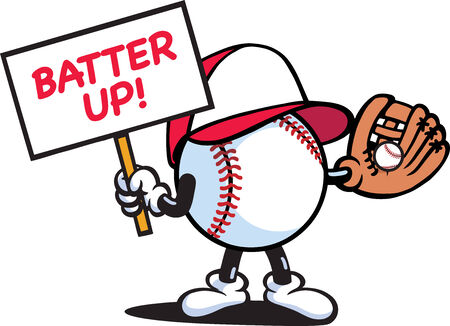 baseball cartoon: Baseball with Sign Illustration
