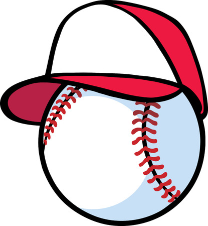 baseball cartoon: Baseball with hat Illustration