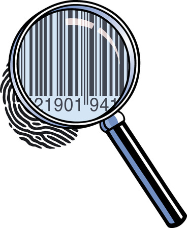 Magnifying glass barcode Vector
