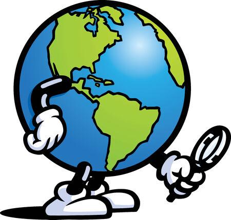 tierra caricatura: Tierra buscando Vectores