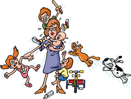 shouting: Mother And Children Illustration