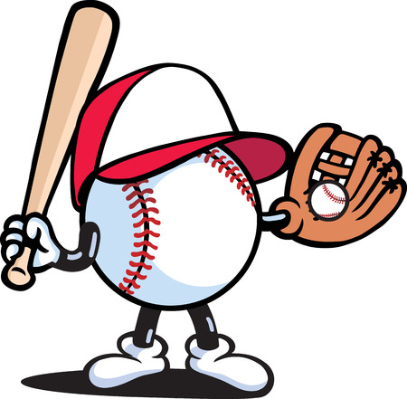 baseball cartoon: Baseball player
