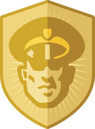 cartoon police officer: Security Guard Badge Illustration