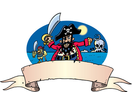 Pirate & Parrot Vector