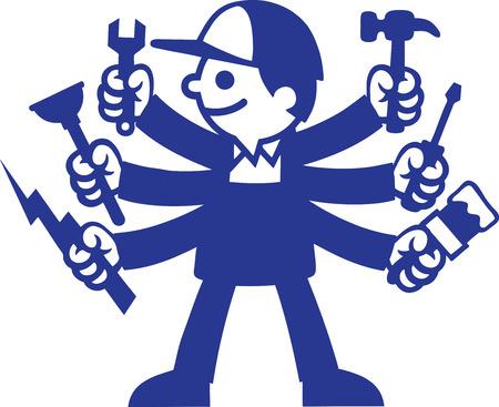 plumber with tools: Tipo de herramienta Vectores