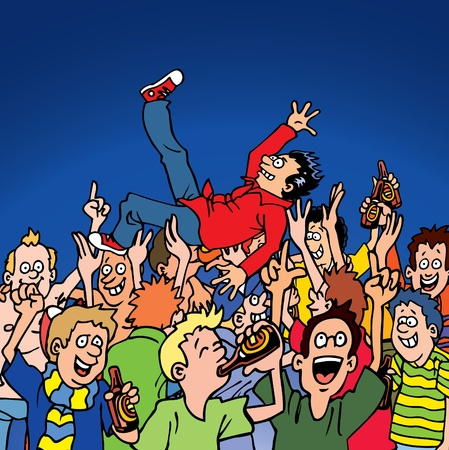 cartoon surfing: Crowd Surfing