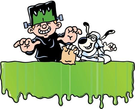 cartoon frankenstein: Halloween Banner Illustration